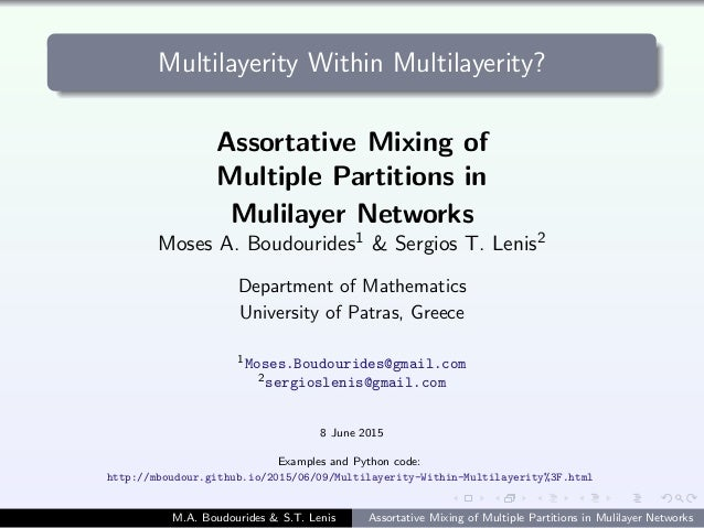 Multilayerity Within Multilayerity? Assortative Mixing of Multiple Partitions in Mulilayer Networks Moses A. Boudourides1 ...