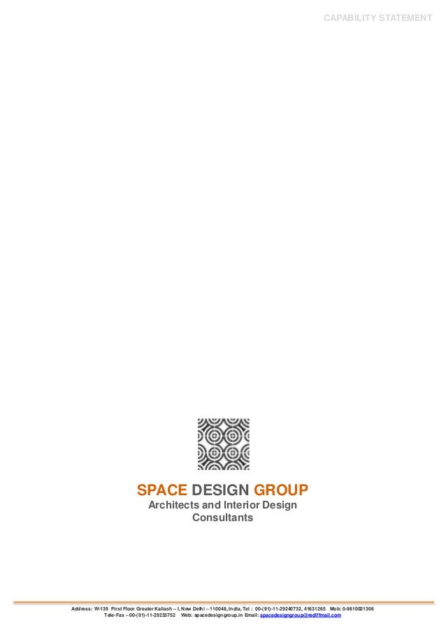 CAPABILITY STATEMENT SPACE DESIGN GROUP Architects And Interior Design Consultants Address W 139 First