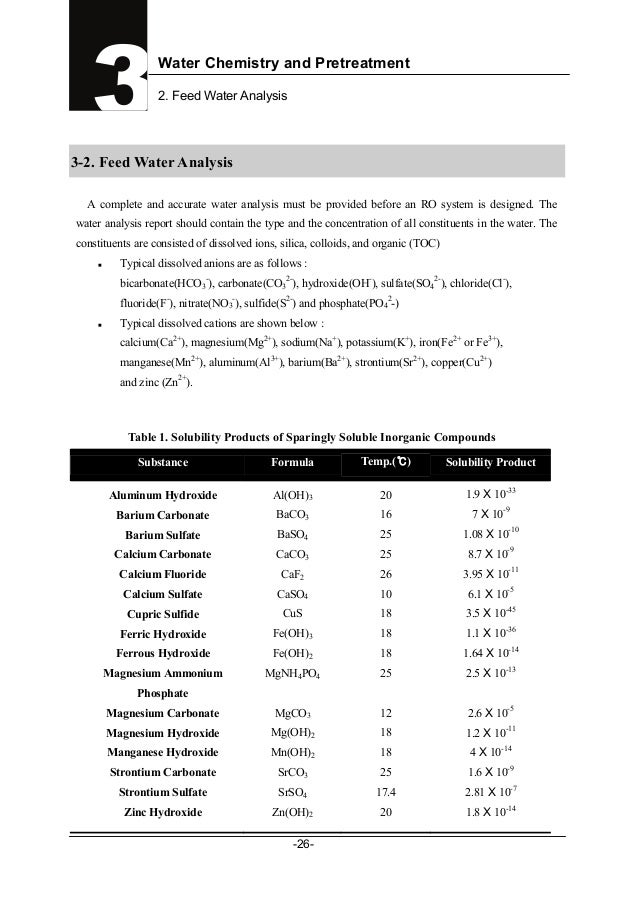 Water Chemistry and Pretreatment2. Feed Water Analysis-26-33-2. Feed Water AnalysisA complete and accurate water analysis ...