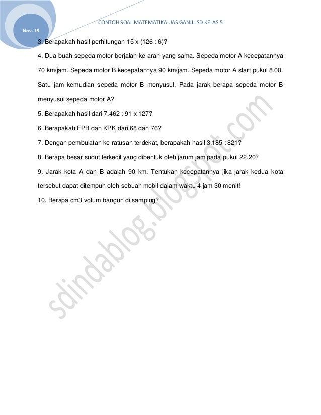 Sdindablog Soal Latihan Matematika Untuk Uas Ganjil Semester 1 Kelas