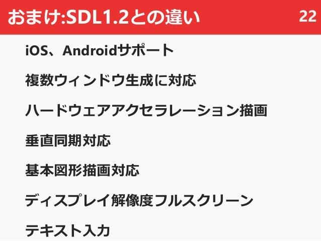 おまけ:SDL1.2との違い iOS、Androidサポート 複数ウィンドウ生成に対応 ハードウェアアクセラレーション描画 垂直同期対応 基本図形描画対応 ディスプレイ解像度フルスクリーン テキスト入力 22