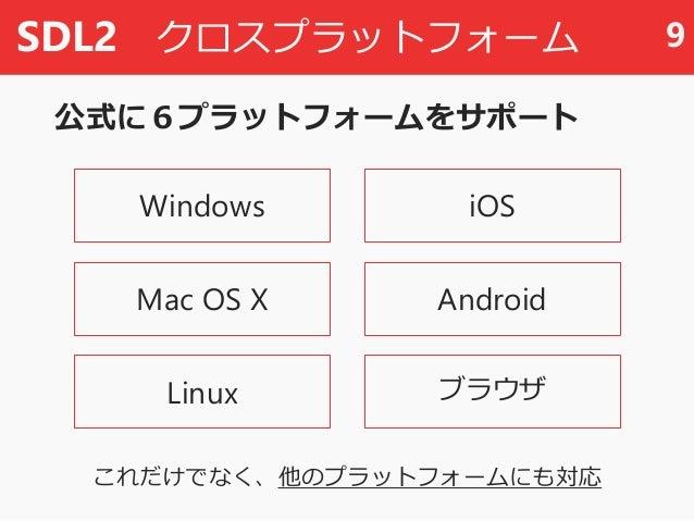 SDL2 クロスプラットフォーム 公式に6プラットフォームをサポート 9 Windows Mac OS X Linux iOS Android ブラウザ これだけでなく、他のプラットフォームにも対応