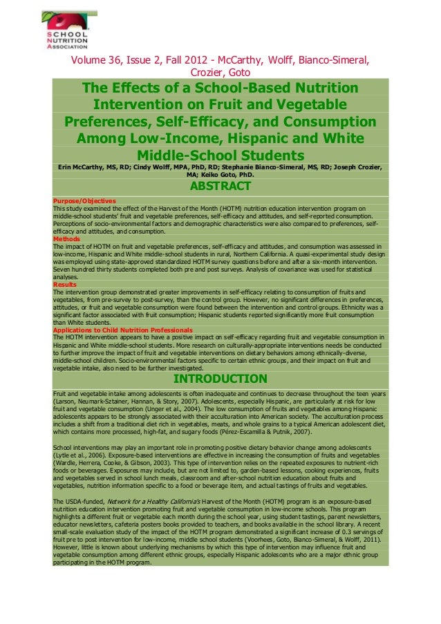 Volume 36, Issue 2, Fall 2012 - McCarthy, Wolff, Bianco-Simeral, Crozier, Goto The Effects of a School-Based Nutrition Int...