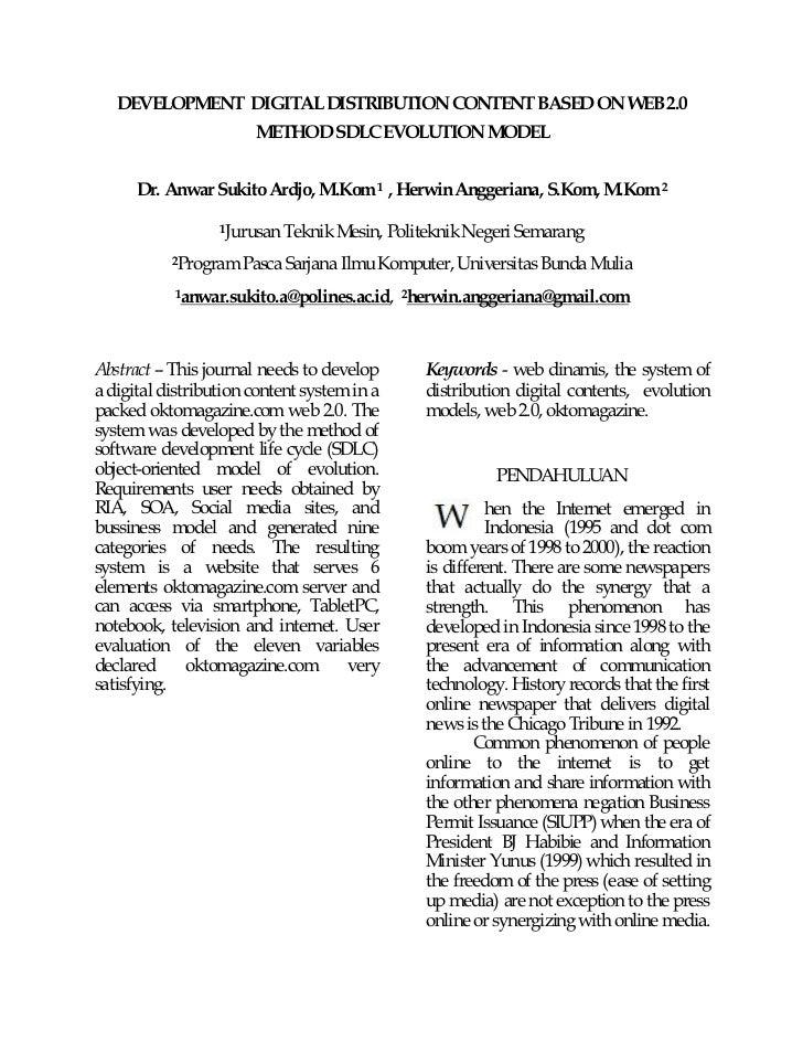DEVELOPMENT DIGITAL DISTRIBUTION CONTENT BASED ON WEB 2.0               METHOD SDLC EVOLUTION M  ODEL      Dr. Anwar Sukit...