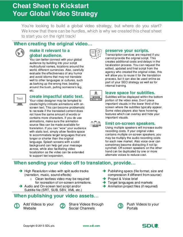 Copyright © 2015 SDL plc. www.sdl.com Cheat Sheet to Kickstart Your Global Video Strategy You're looking to build a global...