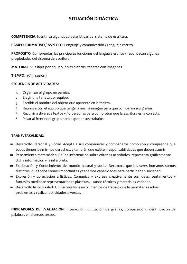 SITUACIÓN DIDÁCTICA<br />COMPETENCIA: Identifica algunas características del sistema de escritura.<br />CAMPO FORMATIVO / ...