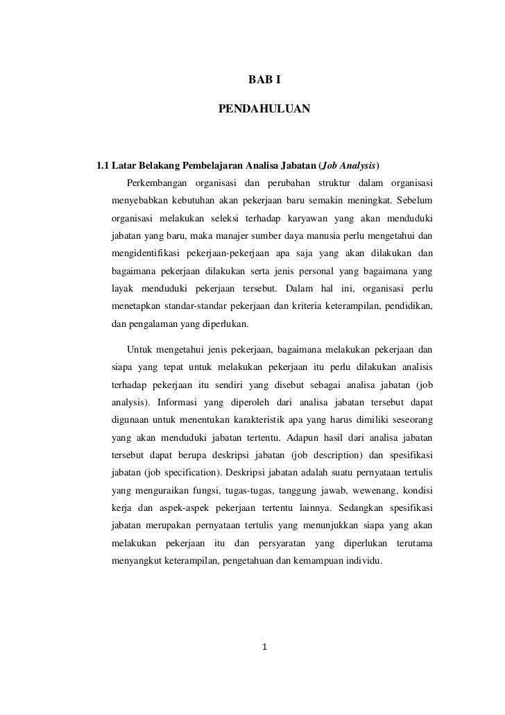 BAB I                             PENDAHULUAN1.1 Latar Belakang Pembelajaran Analisa Jabatan (Job Analysis)      Perkemban...
