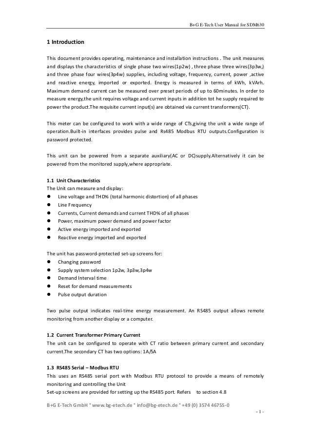 Sdm630 Modbus Manual