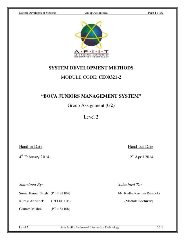 System Development Methods Group Assignment Page 1 of 57 Level 2 Asia Pacific Institute of Information Technology 2014 SYS...