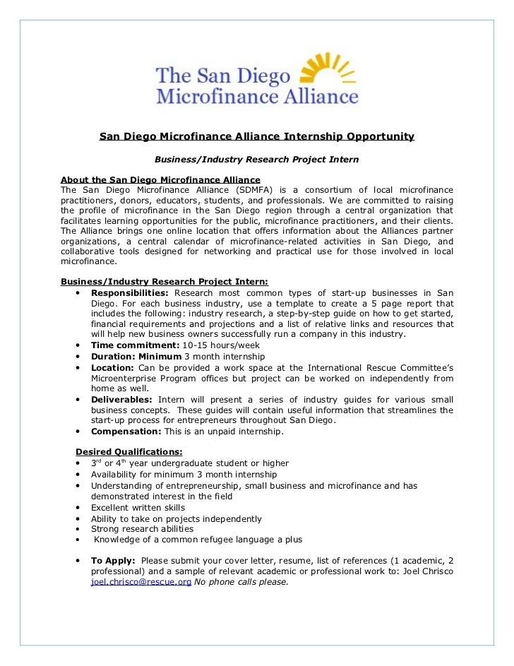 San Diego Microfinance Alliance Internship Opportunity                       Business/Industry Research Project InternAbou...