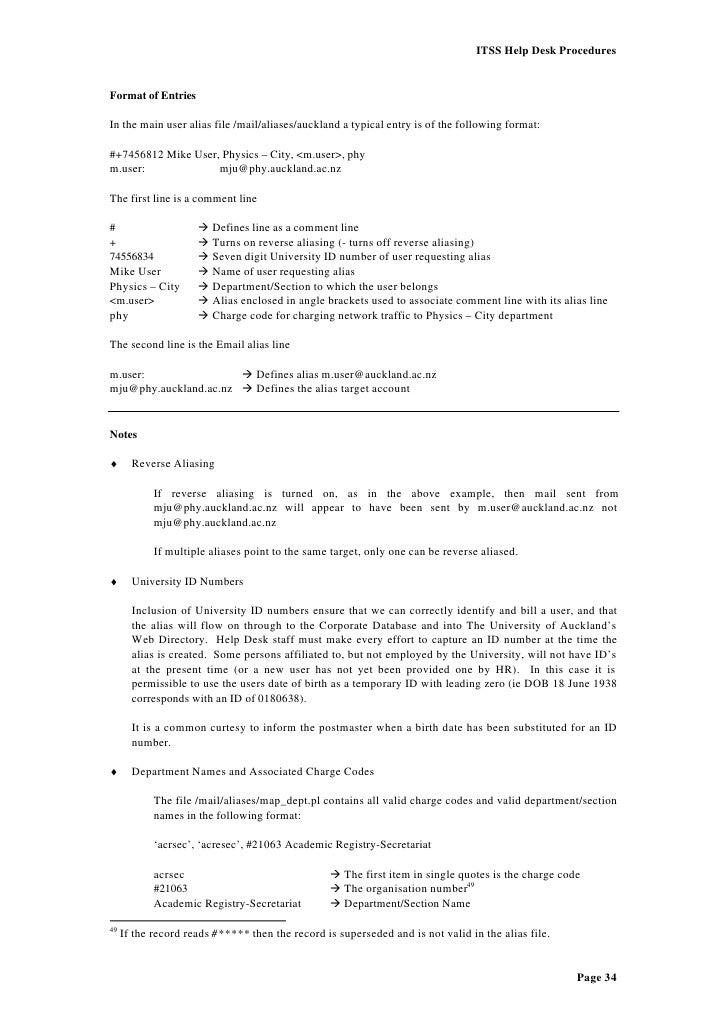 34 ITSS Help Desk Procedures