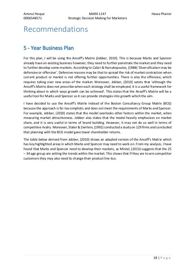 Five year business plan
