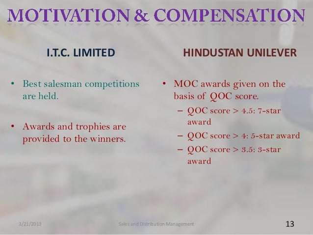 I.T.C. LIMITED                               HINDUSTAN UNILEVER• Best salesman competitions                    • MOC award...