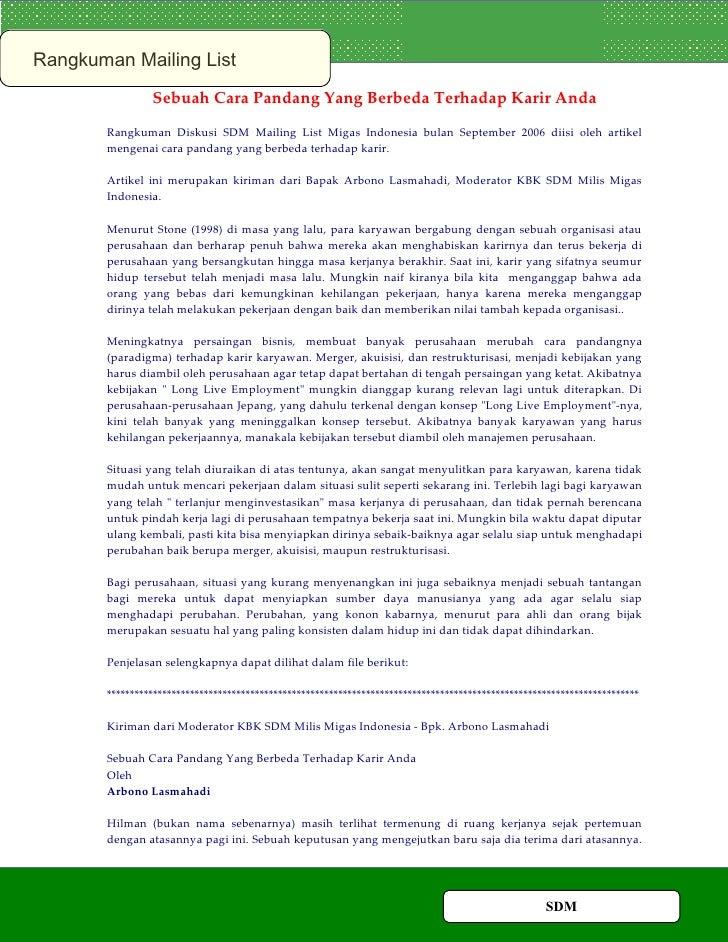 Rangkuman Mailing List                 Sebuah Cara Pandang Yang Berbeda Terhadap Karir Anda        Rangkuman Diskusi SDM M...