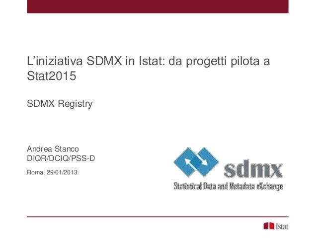 L'iniziativa SDMX in Istat: da progetti pilota aStat2015SDMX RegistryAndrea StancoDIQR/DCIQ/PSS-DRoma, 29/01/2013