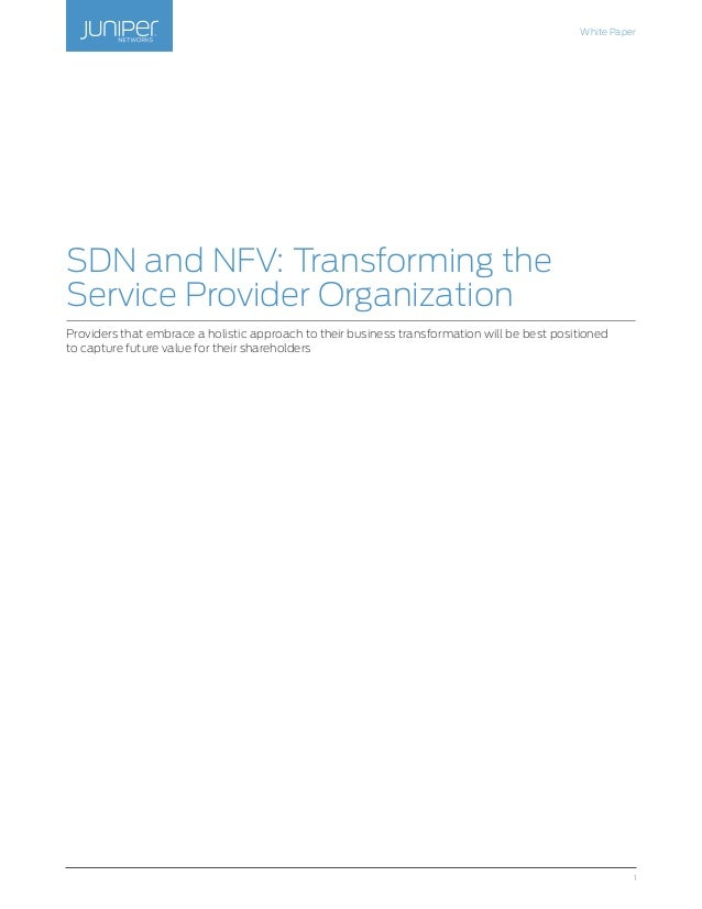 SDN and NFV: Transforming the Service Provider Organization