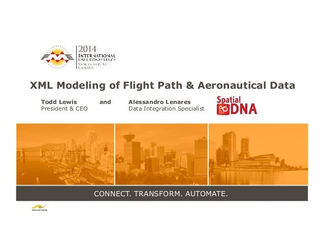 CONNECT. TRANSFORM. AUTOMATE. XML Modeling of Flight Path & Aeronautical Data Todd Lewis and Alessandro Lenares President ...