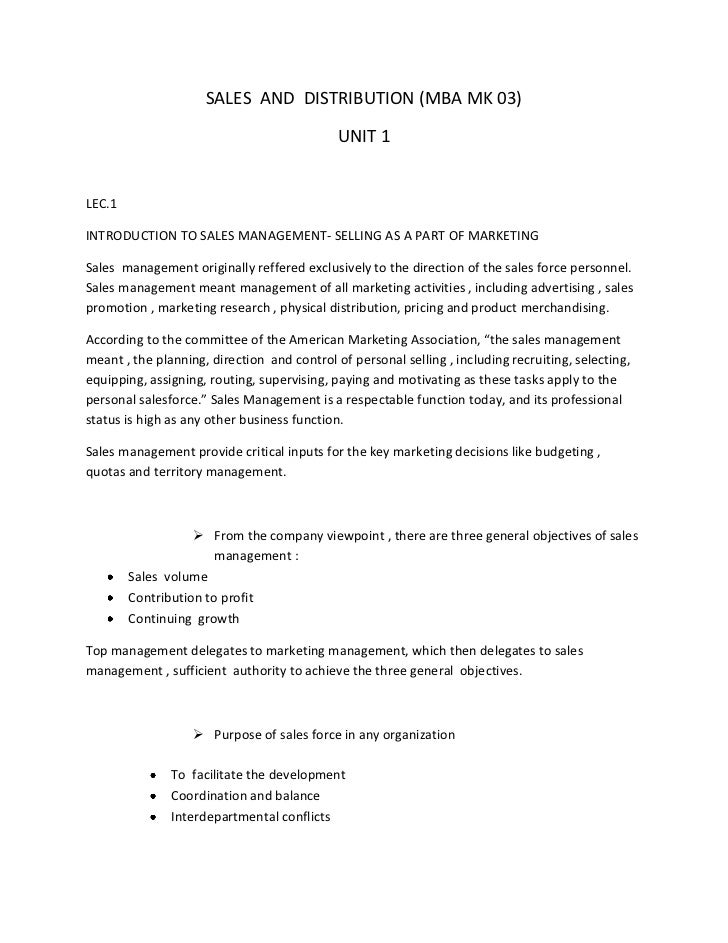 SALES  AND  DISTRIBUTION (MBA MK 03)<br />UNIT 1<br />LEC.1<br />INTRODUCTION TO SALES MANAGEMENT- SELLING AS A PART OF MA...