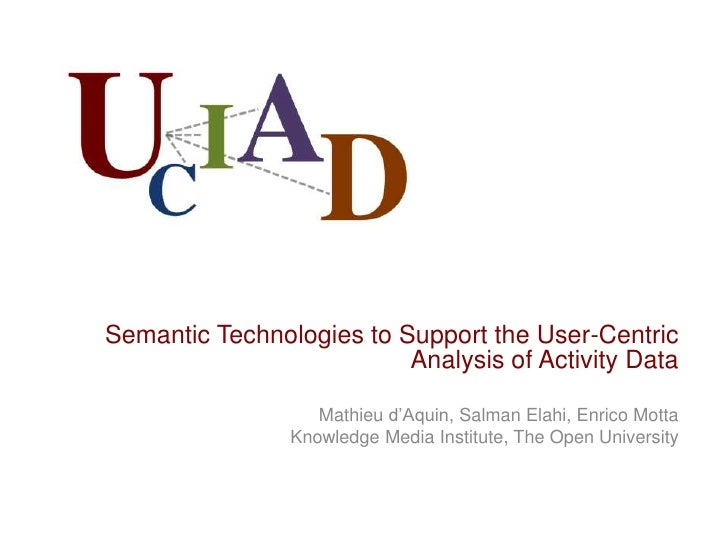 Semantic Technologies to Support the User-Centric                          Analysis of Activity Data                   Mat...