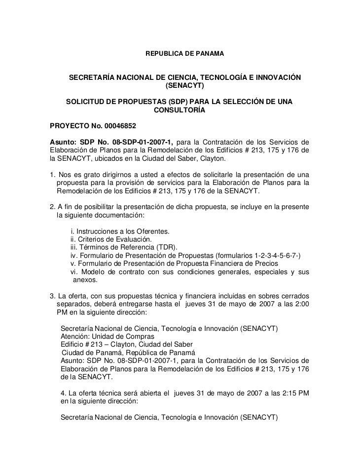 REPUBLICA DE PANAMA      SECRETARÍA NACIONAL DE CIENCIA, TECNOLOGÍA E INNOVACIÓN                            (SENACYT)     ...