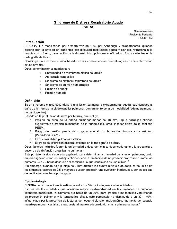 159                       Síndrome de Distress Respiratorio Agudo                                       (SDRA)            ...