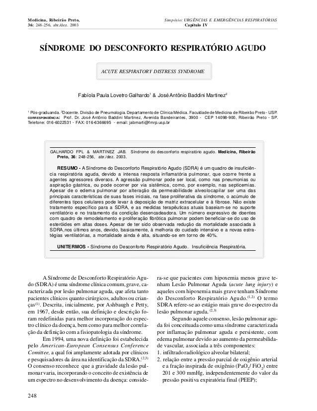 Medicina, Ribeirão Preto, 36: 248-256, abr./dez. 2003  Simpósio: URGÊNCIAS E EMERGÊNCIAS RESPIRATÓRIAS Capítulo IV  SÍNDRO...