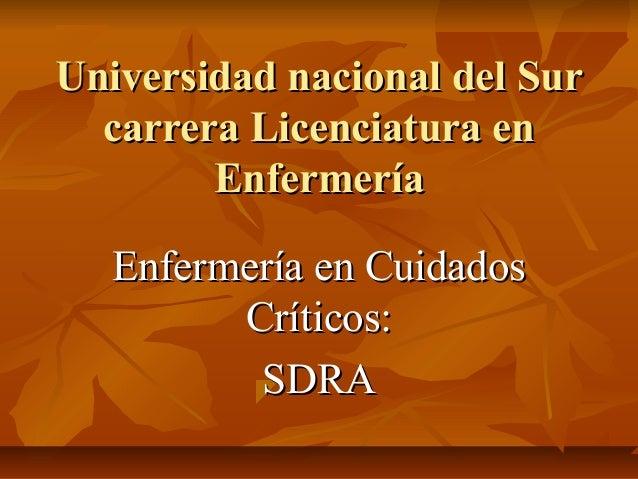 Universidad nacional del Sur  carrera Licenciatura en        Enfermería   Enfermería en Cuidados         Críticos:        ...