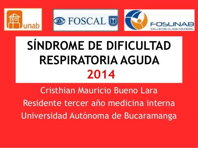 SÍNDROME DE DIFICULTAD RESPIRATORIA AGUDA 2014 Cristhian Mauricio Bueno Lara Residente tercer año medicina interna Univers...