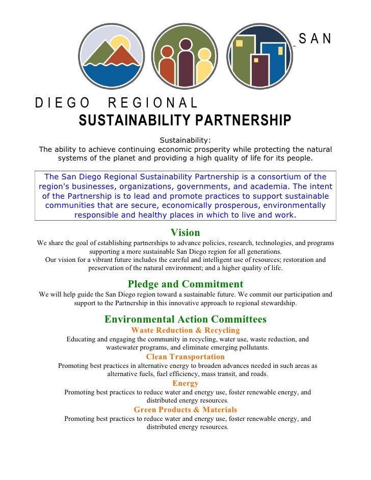 SAN    DIEGO                   REGIONAL               SUSTAINABILITY PARTNERSHIP                                   Sustain...