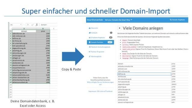 Super einfacher und schneller Domain-Import Deine Domaindatenbank, z. B. Excel oder Access Copy & Paste