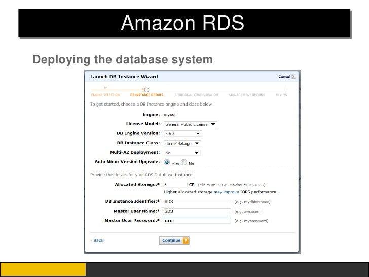 Amazon RDSDeploying the database system