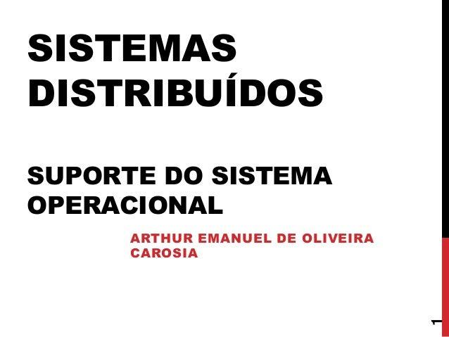 SISTEMAS DISTRIBUÍDOS SUPORTE DO SISTEMA OPERACIONAL ARTHUR EMANUEL DE OLIVEIRA CAROSIA 1