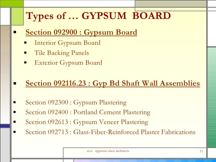 Types Of Gypsum ~ Detailing interior wall assemblies