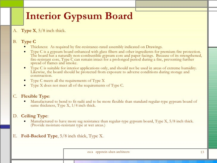 Types Of Gypsum Board : Detailing interior wall assemblies