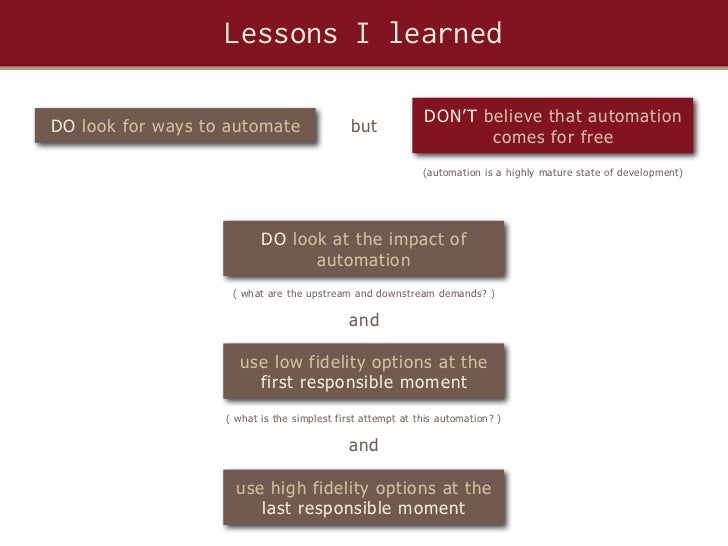 Lessons I learned                                                            DON' T believe that automationDO look for way...