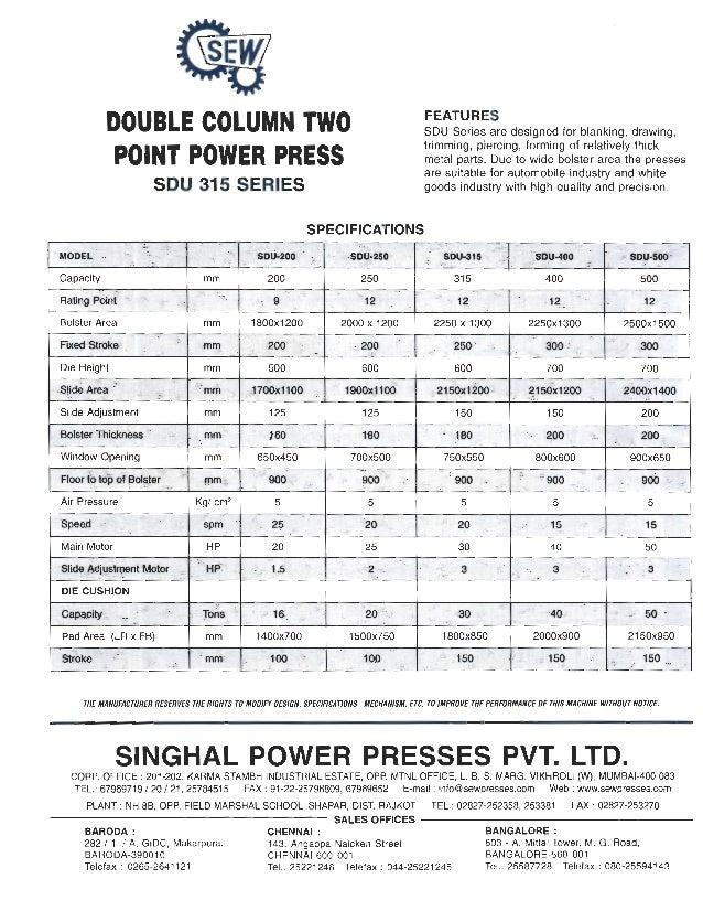 SEW Power Presses: SDU Series Power Press Brochure Slide 2