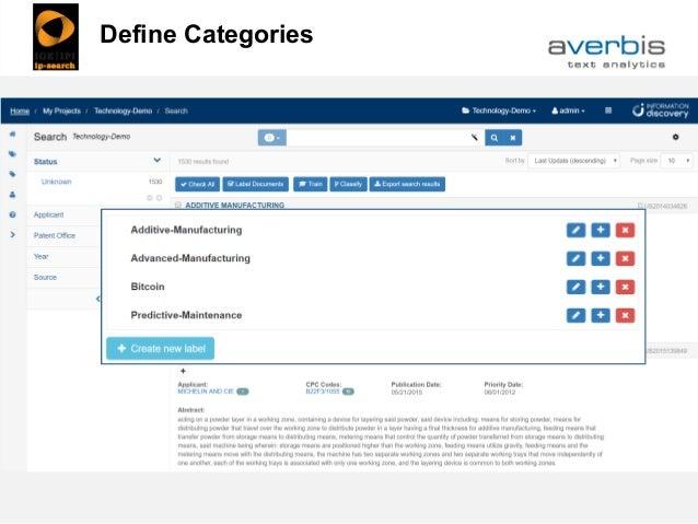 Patent Classification: Define Categories Define Categories