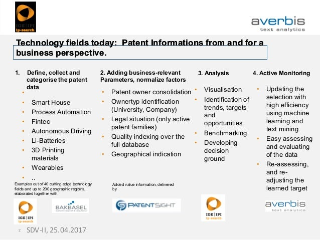 Technology fields today: Patent Informations from and for a business perspective. Technology fields today: Patent Informat...
