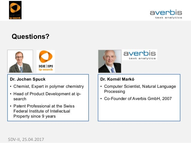 Dr. Jochen Spuck • Chemist, Expert in polymer chemistry • Head of Product Development at ip- search • Patent Professional ...