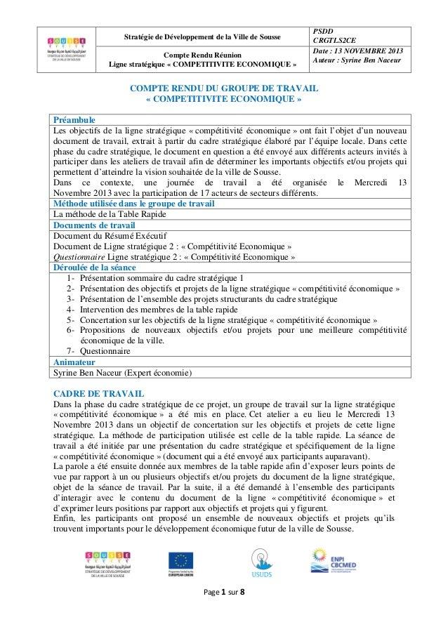 Stratégie de Développement de la Ville de Sousse Compte Rendu Réunion Ligne stratégique « COMPETITIVITE ECONOMIQUE »  PSDD...