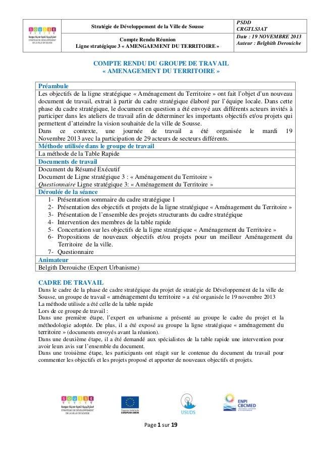 Stratégie de Développement de la Ville de Sousse Compte Rendu Réunion Ligne stratégique 3 « AMENGAEMENT DU TERRITOIRE »  P...