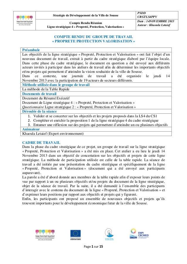 Stratégie de Développement de la Ville de Sousse Compte Rendu Réunion Ligne stratégique 4 « Propreté, Protection, Valorisa...