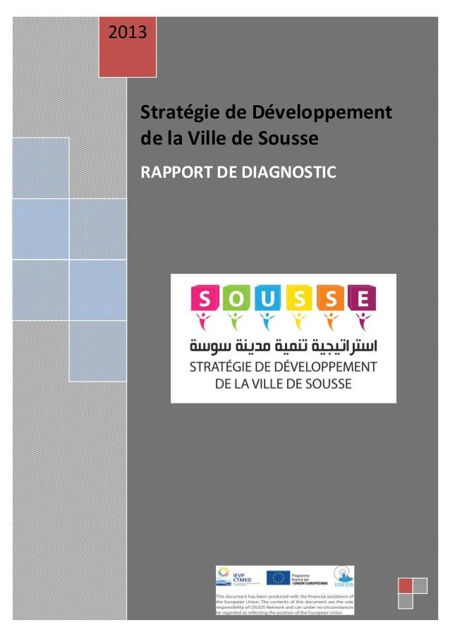 2013  Stratégie de Développement de la Ville de Sousse RAPPORT DE DIAGNOSTIC