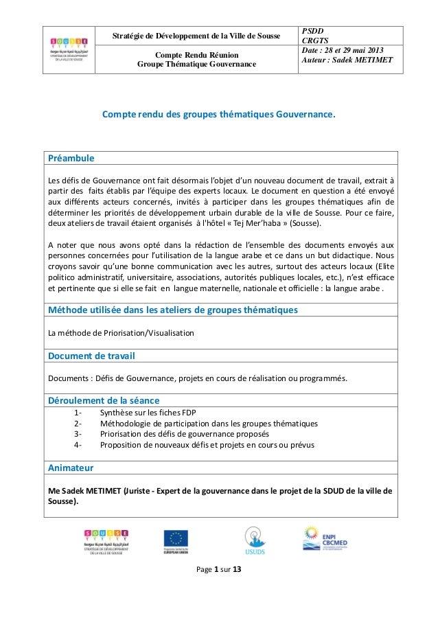 Stratégie de Développement de la Ville de Sousse PSDD CRGTS Compte Rendu Réunion Groupe Thématique Gouvernance Date : 28 e...