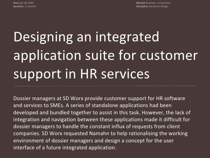 An application suite for HR customer support<br />time Q2-Q3 2005<br />duration  three months <br />