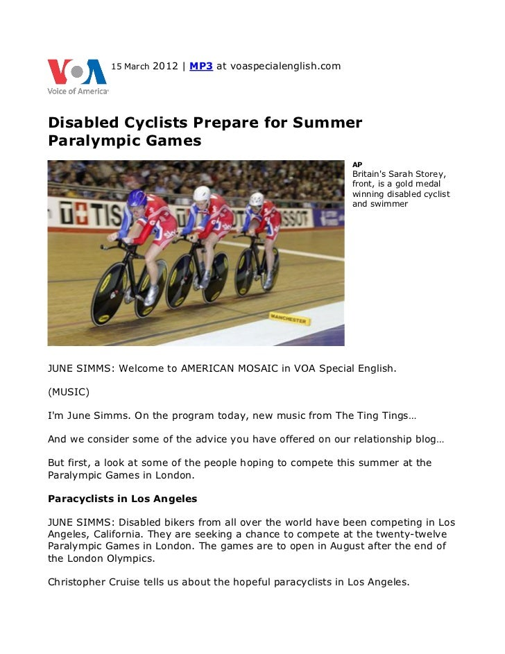 15 March   2012 | MP3 at voaspecialenglish.comDisabled Cyclists Prepare for SummerParalympic Games                        ...