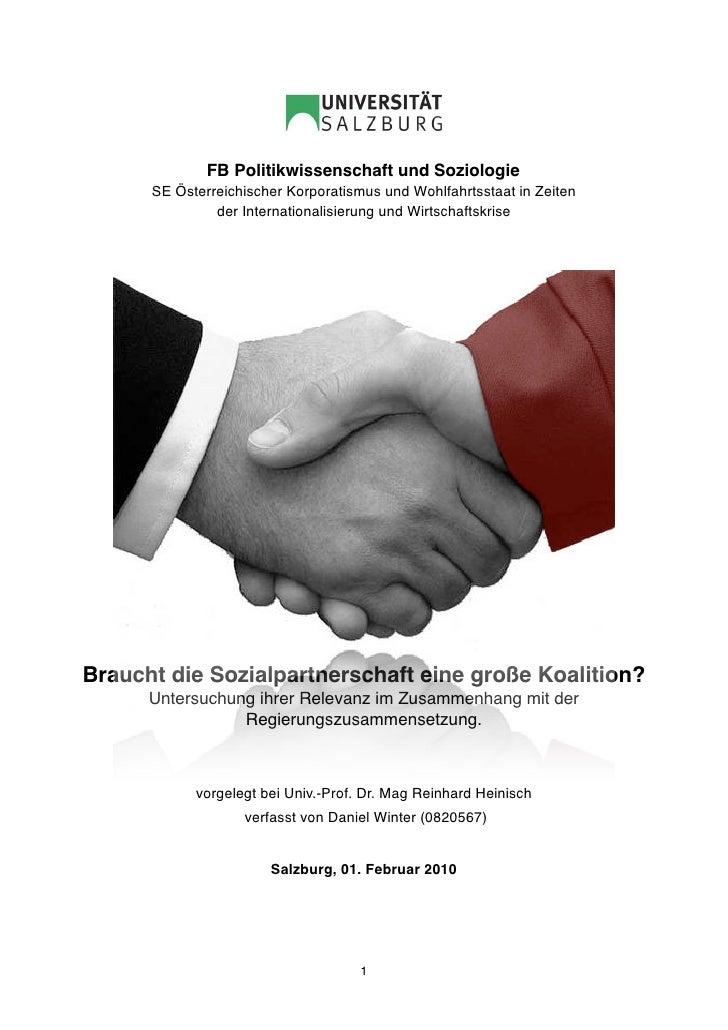 FB Politikwissenschaft und Soziologie       SE Österreichischer Korporatismus und Wohlfahrtsstaat in Zeiten               ...