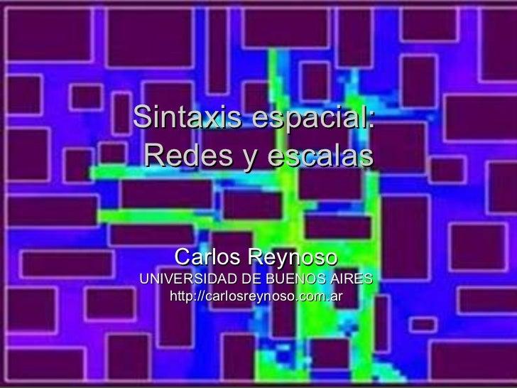 Sintaxis espacial:Redes y escalas    Carlos ReynosoUNIVERSIDAD DE BUENOS AIRES    http://carlosreynoso.com.ar