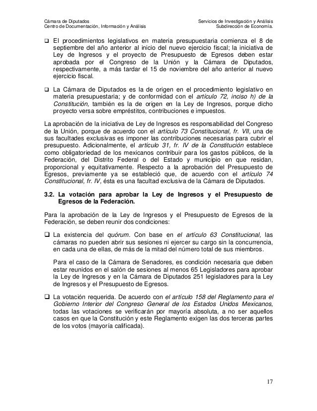 Procedimiento Legislativo Presupuesto de ingresos