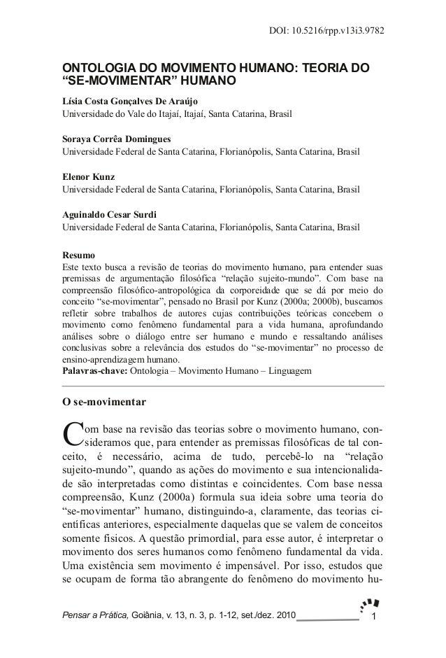 1DOI: 10.5216/rpp.v13i3.9782Pensar a Prática, Goiânia, v. 13, n. 3, p. 112, set./dez. 2010ONTOLOGIA DO MOVIMENTO HUMANO: ...